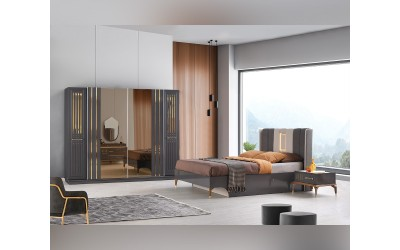 Луксозен спален комплект ATLAS 160/200 см. с LED осветление - сив лак