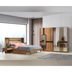 Луксозен спален комплект DOGA 160/200 см. с LED осветление - урарту/черно
