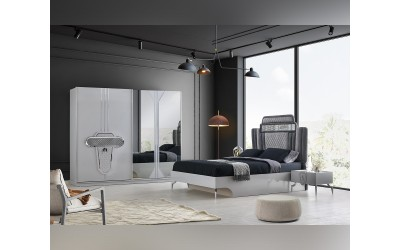 Луксозен спален комплект EFES 160/200 см. с LED осветление - хром/металик