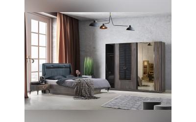 Луксозен спален комплект ILGAS 160/200 см. с LED осветление - кура/черен мат