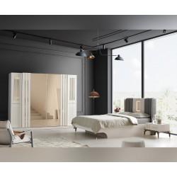Луксозен спален комплект MERIC 160/200 см. с LED осветление - бял