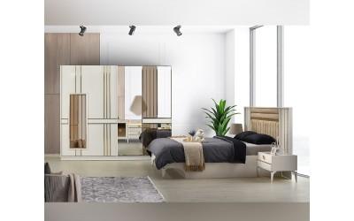 Луксозен спален комплект NEHIR 160/200 см. с LED осветление - бял