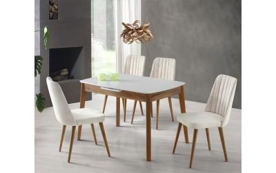 Комплект разтегателна трапезна маса Ece 553 със столове Milano 140