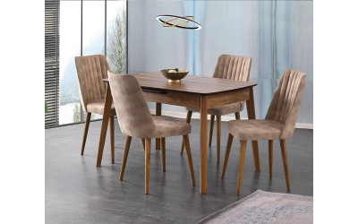 Комплект разтегателна трапезна маса Ece 554 със столове Milano 144