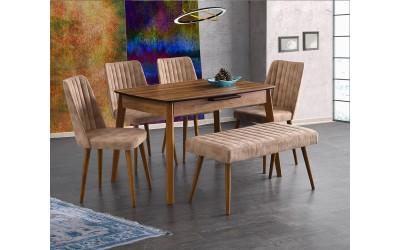 Комплект разтегателна трапезна маса Ece 554 със столове Milano 144 и пейка Lik 183