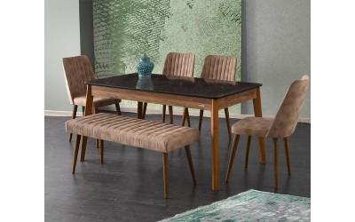 Комплект маса Lotus 533 със столове Milano 144 и пейка 190