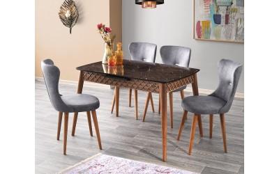 Комплект разтегателна трапезна маса Mine 538 със столове Ela 368