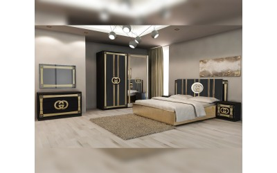 Луксозен спален комплект Double G - Черно / Златно