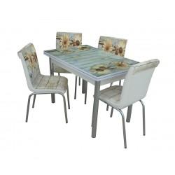 Комплект трапезна разтегателна маса с четири стола Зенит